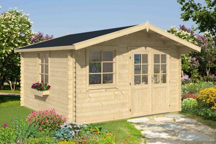 28 mm Blockhaus Luna 1 ohne Terrasse – 360 x 360 cm – Versandkostenfreie Lieferung!