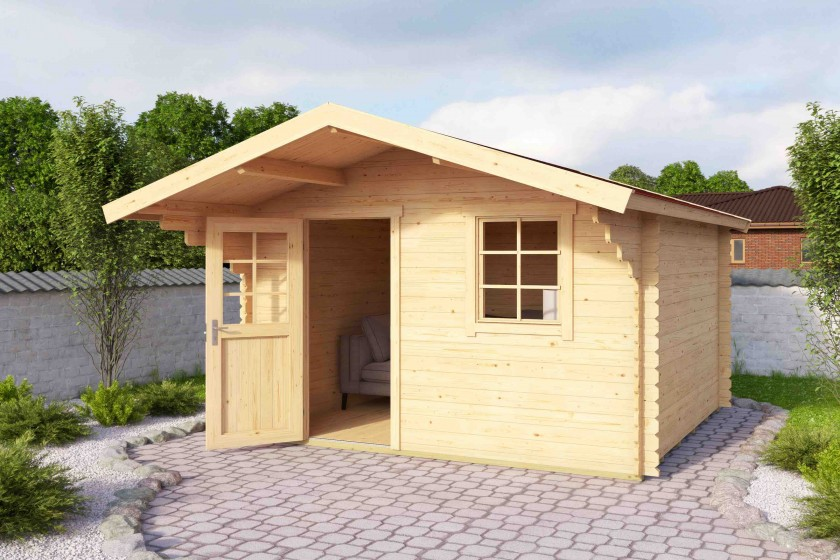 28 mm Blockhaus Lasita Maja Aktion 9/10 - 300 x 300 cm - Versandkostenfreie Lieferung!
